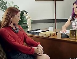Redhead spanks shemale in office