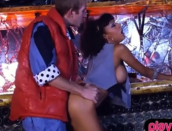 Retro ebony chick in unclouded boots gets fucked in a bar