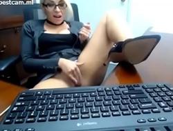 girl in office time masturbating
