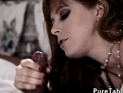 Redhead glam MILF cuckolds hubby with bbc