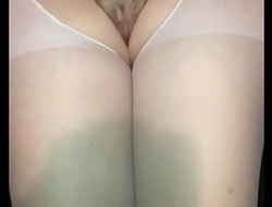 Slow motion cum on wife's white nylons